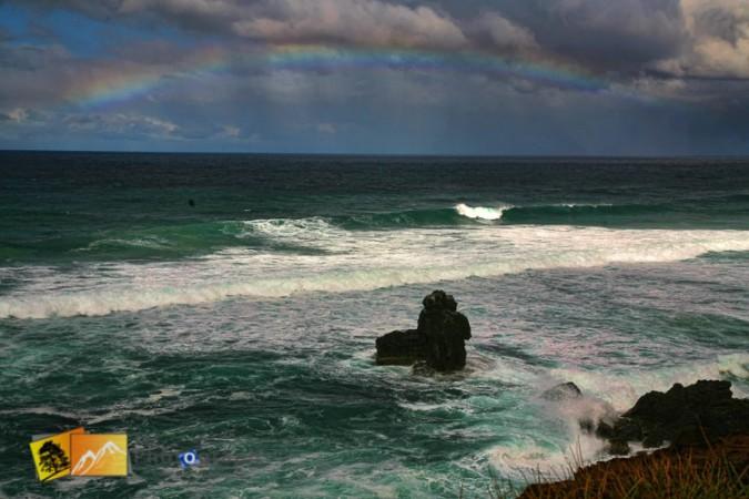 rainbow over NSW beach