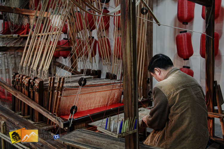 Silk weaving in factory