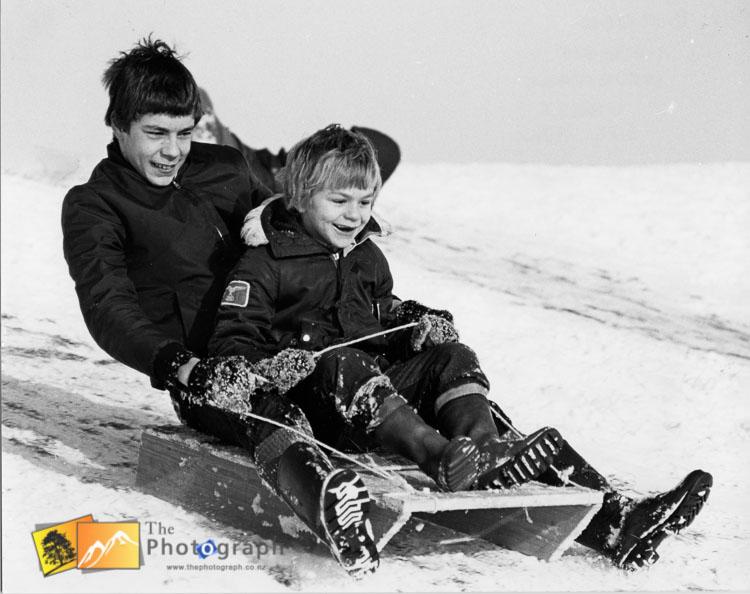 Sledding on the snow in Hertfordshire