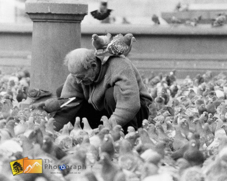 Feeding the pigeons in trafalgar square