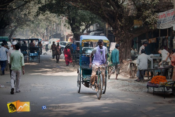 rickshaw in the city market