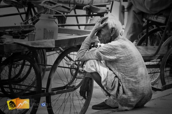 rickshaw rider takes a break