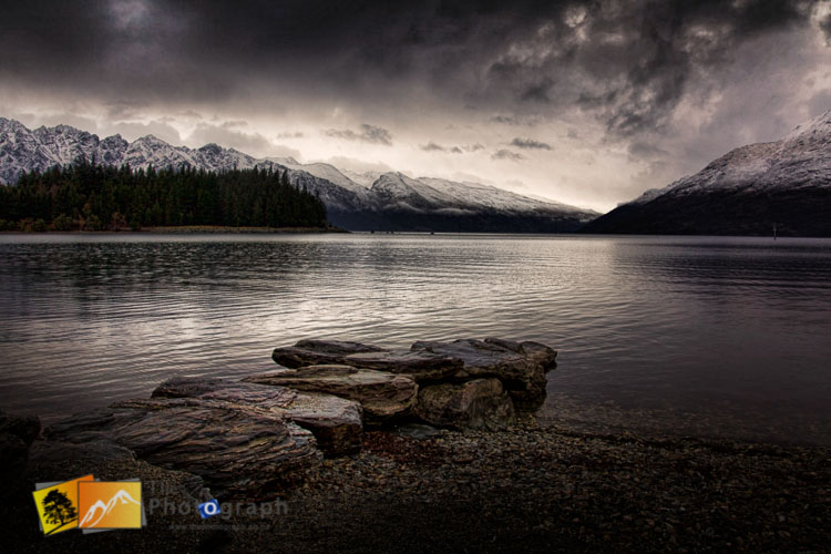 Dramatic winter landscape of lake Wakatipu.