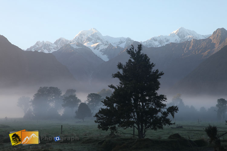 Misty morning lake Matheson.