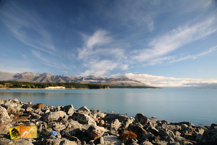 Rocky shore of lake Pukaki.