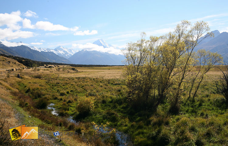 Small stream with mount Cook view.