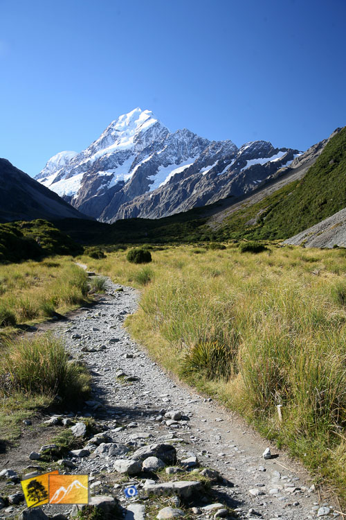 Walking route to Mount Cook.