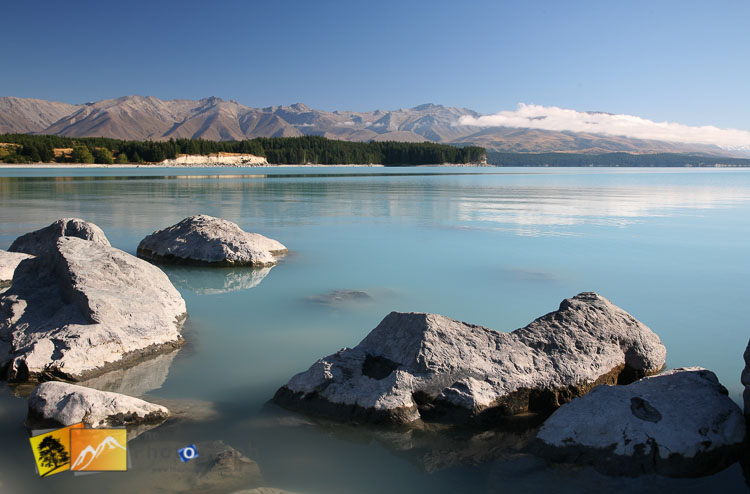 Blue water of lake Pukaki.