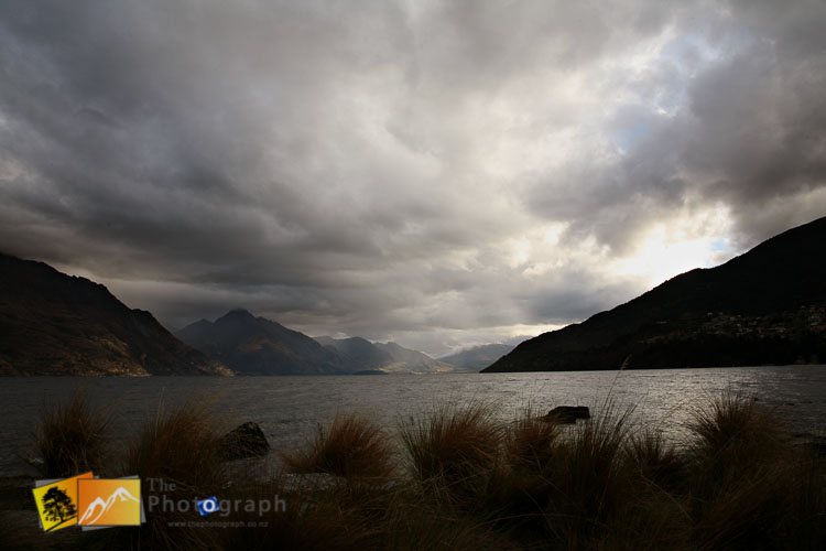 Stormy sky over lake Wakatipu from Queenstown.