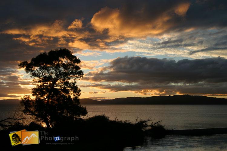 Sunset over Taupo lake.