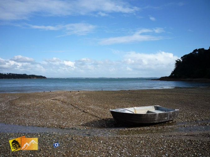 Boat on the beach at Waiheke island.